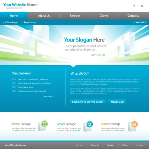 free vector website templates